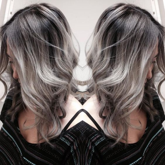 balayage gris sur brune. Black Bedroom Furniture Sets. Home Design Ideas