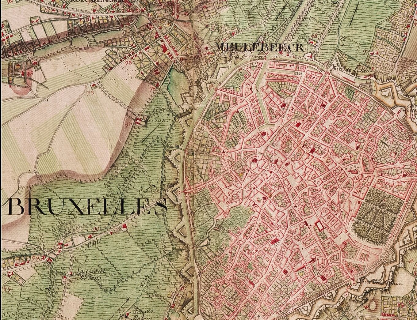 Brussel Bruxelles map Ferraris 1777 Travel Brussels Pinterest