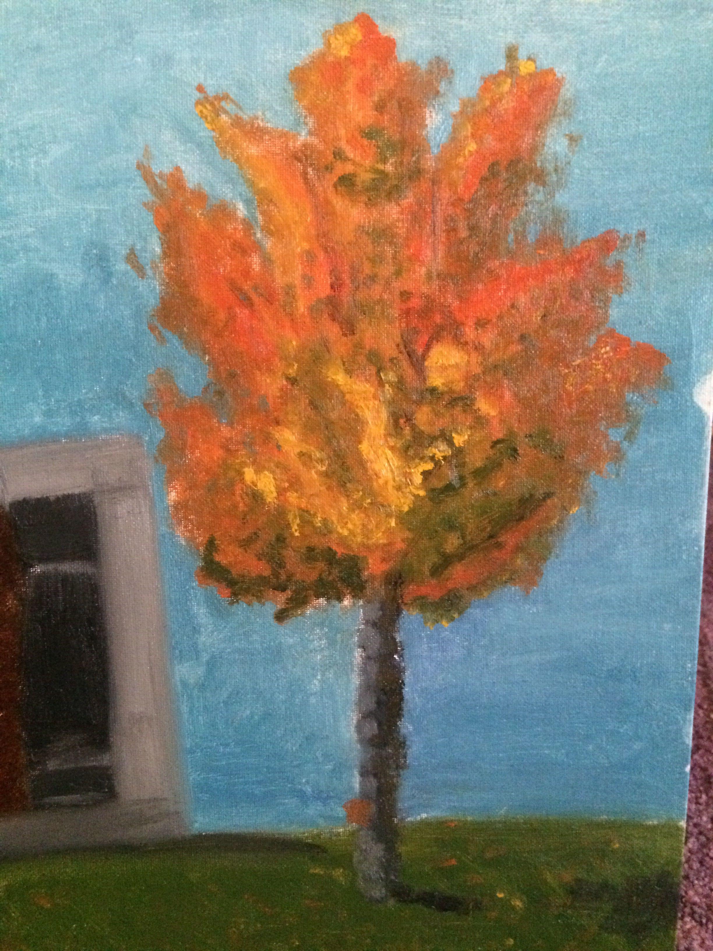 Fall tree in oil paint.