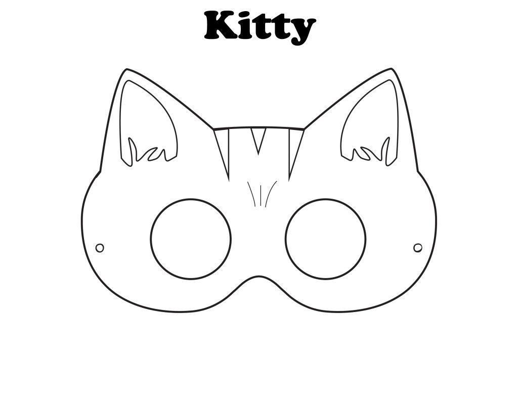 Free Printable Halloween Kitty Mask Color It Yourself Halloween Mask Craft Printable Animal Masks Animal Mask Templates