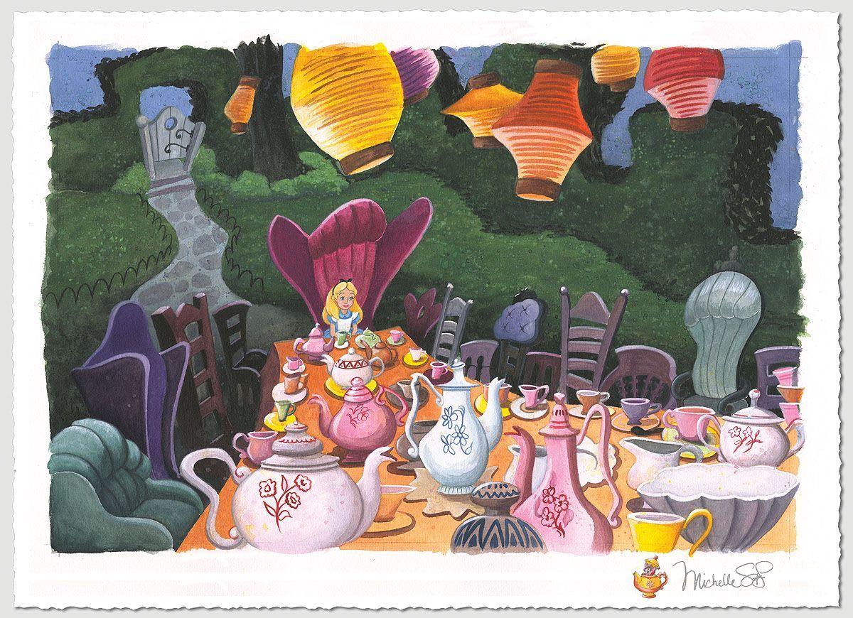 """Tea with Alice"" by Michelle St. Laurent | Disney Fine Art | Disney's Alice in Wonderland"