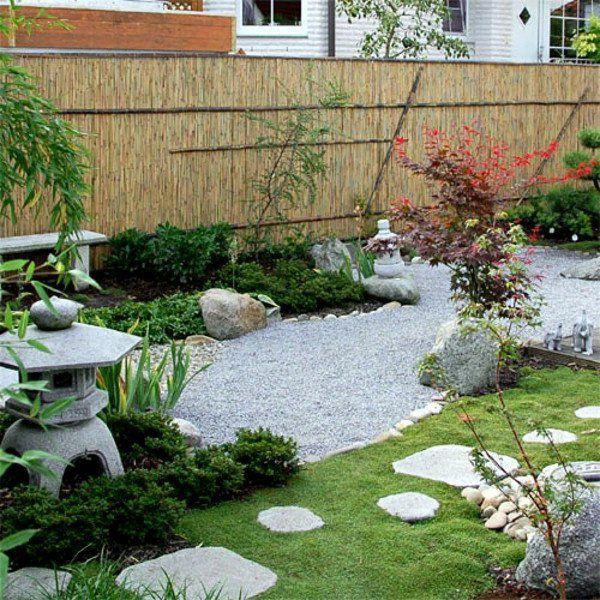 panneau occultant de jardin, clôture en bambou et jardin ...