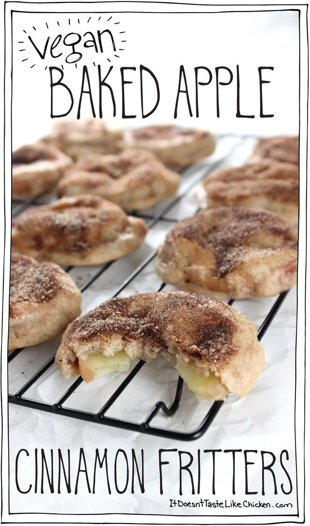 Vegan Baked Apple Cinnamon Fritters! A healthier dessert that's only 100 calories each! #itdoesnttastelikechicken