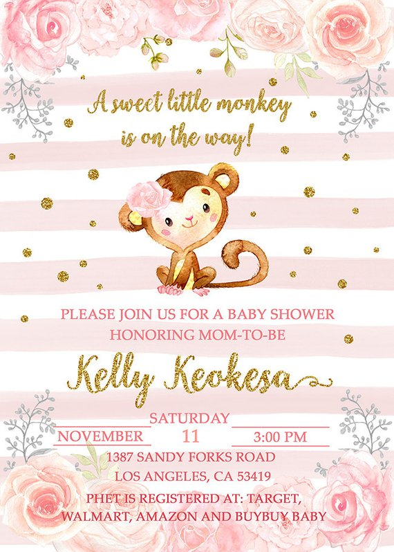 Monkey Girl Baby Shower Invitation Cute Watercolor Girl Invite