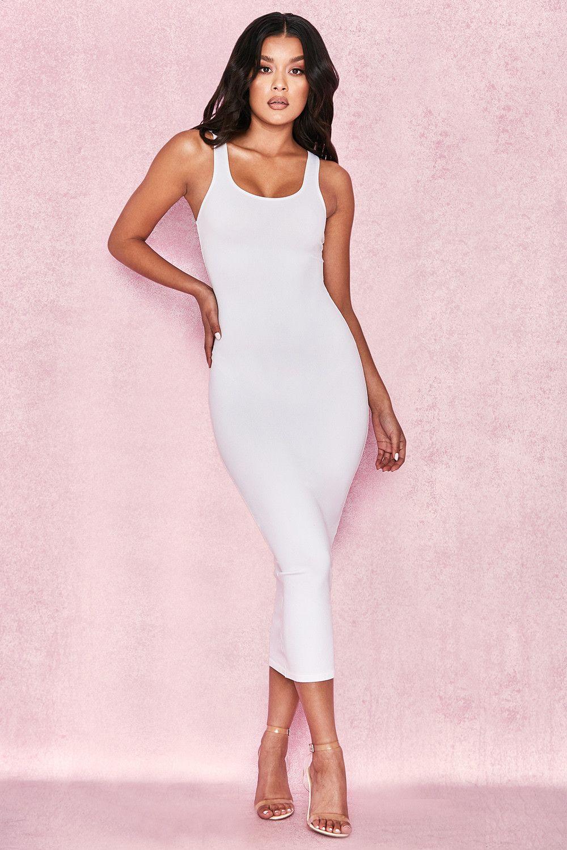 d4d6e2b323c9 Clothing   Bodycon Dresses    Tomlin  White Midi Length Vest Dress ...