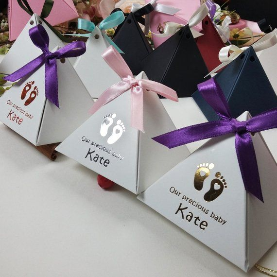Copper Pyramid Favor Box Baby Shower Favor Gift Foil Printed Box
