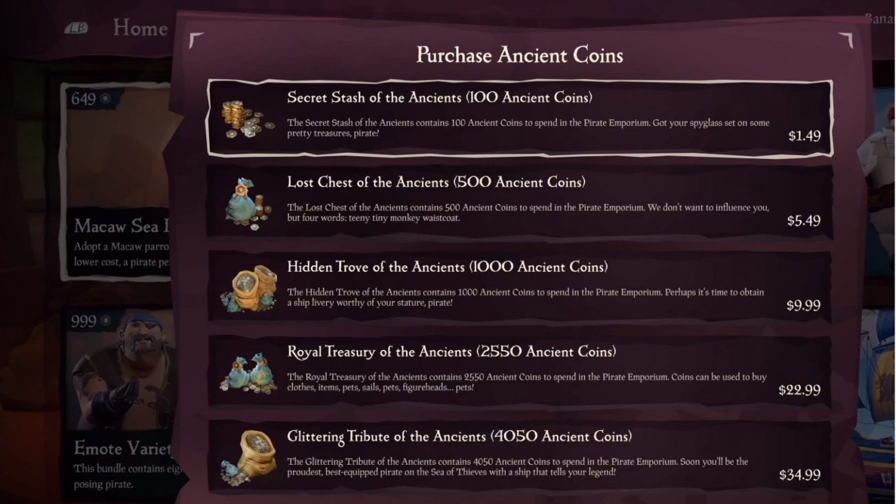 Sea Of Thieves Cosmetic Microtransaction Store Is Now Live Sea Of Thieves Thief Cosmetic Store