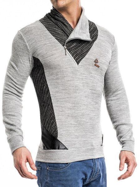 Great 2 tone turtle / mock zipper neck sweater. IMPORTANT: THIS ITEM FITS SMALL. PLEASE USE THE SIZE CHART TO PICK THE CORRECT SIZE FOR YOU. -HIGH QUALITY MATERIAL (POLY) -BODY / SLIM FIT FITTED