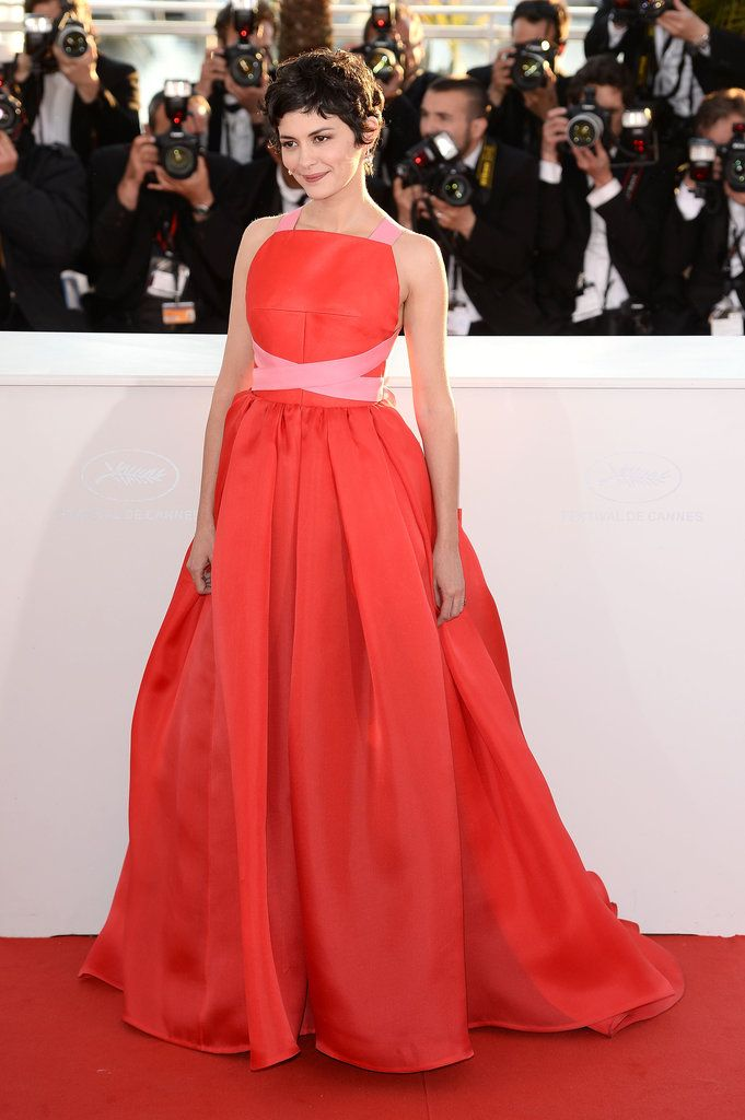 Cannes Red Carpet 2013 | An orange-red shade, accented with a touch of petal pink, looked lovely on actress Audrey Tautou