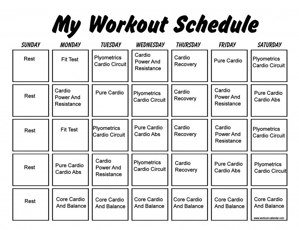 Insanity Workout Schedule Insanity workout schedule