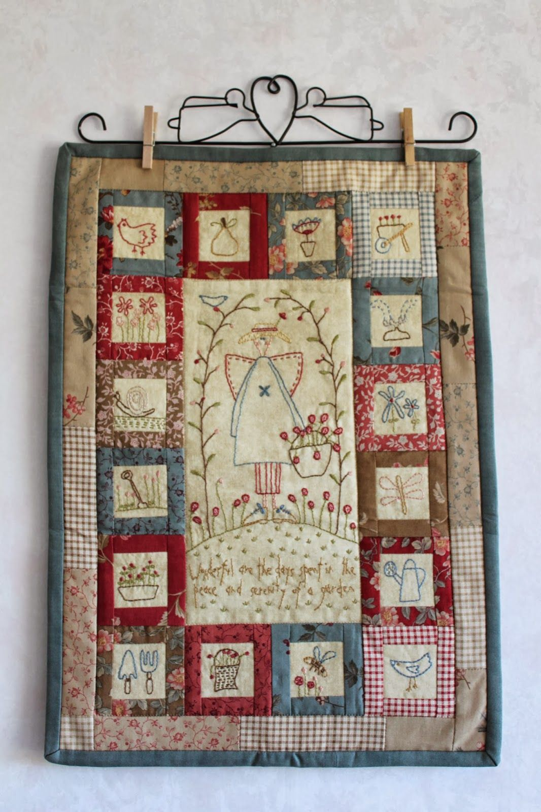 Farm Girl Stitching: My SSCS gift..   Hanging quilts