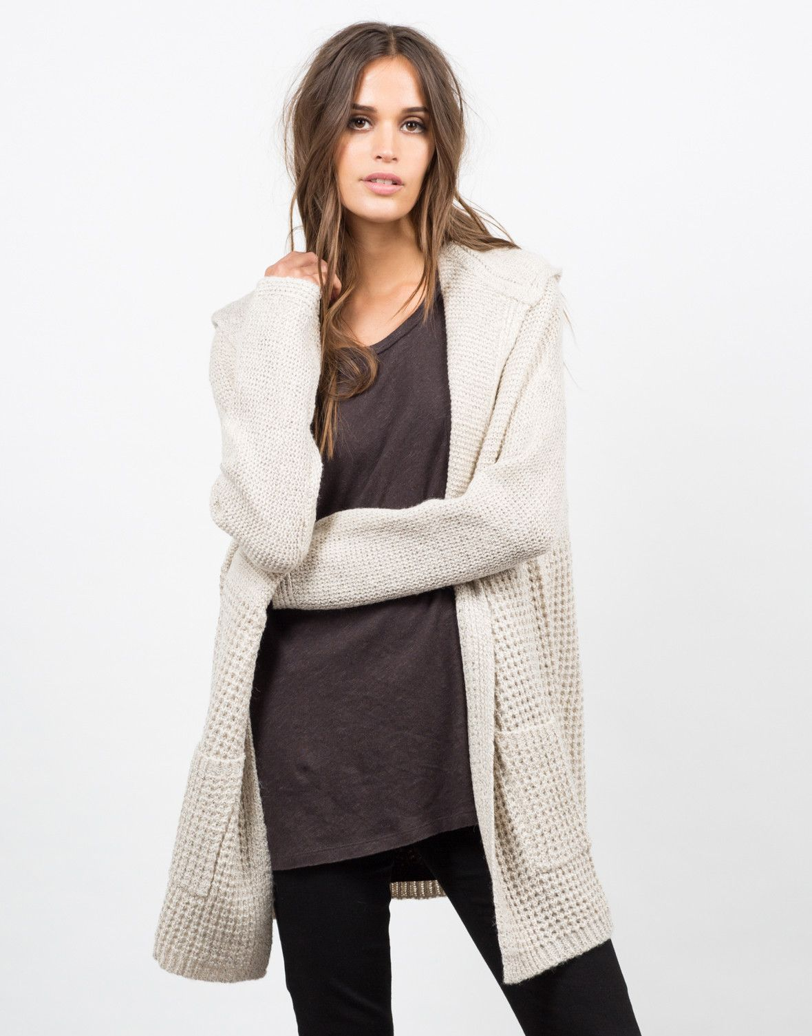 Hooded Chunky Knit Cardigan - Knit Cardigan - Womens Outerwear – Outerwear – 2020AVE