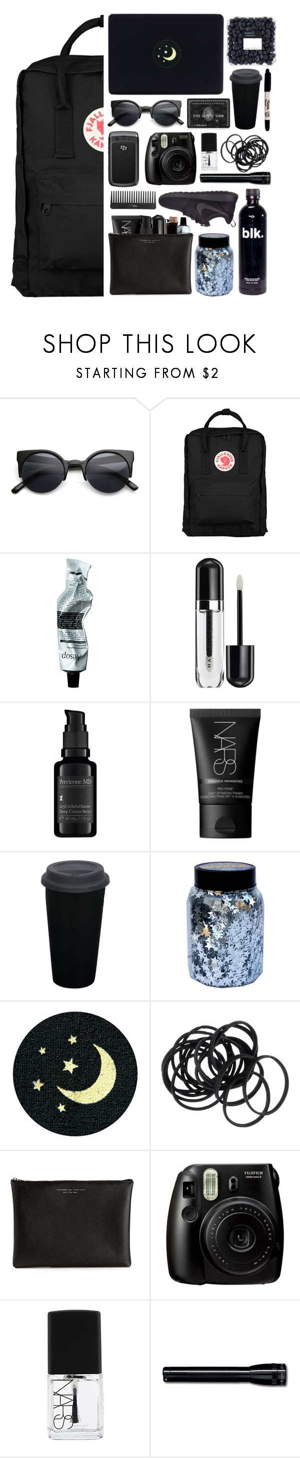 """""""My backpack is my universe"""" by claripadula ❤ liked on Polyvore featuring Retrò, Fjällräven, Aesop, GAS Jeans, Marc Jacobs, Perricone MD, NARS Cosmetics, Sharpie, CO and Karta"""