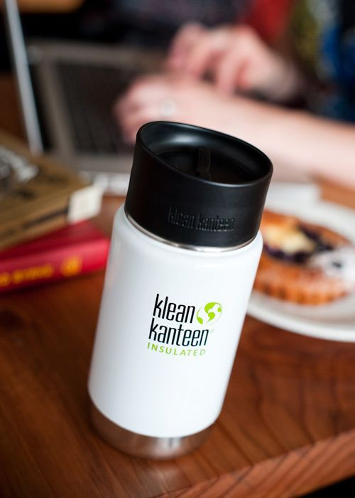 06360f7263 Klean Kanteen 12oz coffee mug in glacier white with the loop and sip cap  combo.