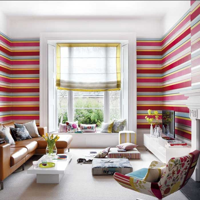 Schoner Wohnen Tapeten Wohnzimmer Single Schlafzimmer Striped Wallpaper Living Room Horizontal Striped Wallpaper Living Room Living Room Designs