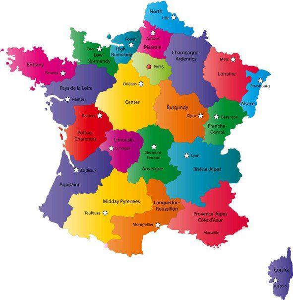 Carte de la France LA FRANCE et ses symboles et son histoire