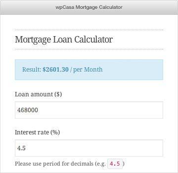 Wpcasa Mortgage Calculator Mortgage Loan Calculator Mortgage Calculator Loan Calculator