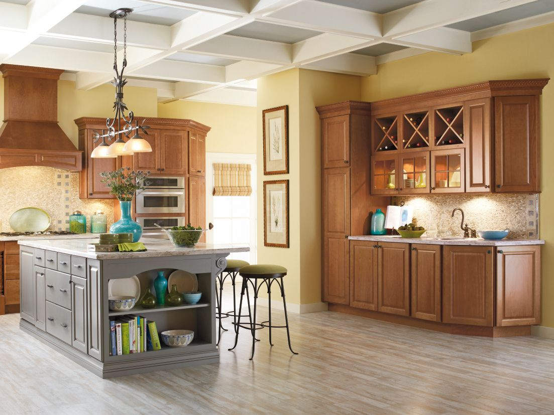 Add a pop of color to your kitchen with a painted island