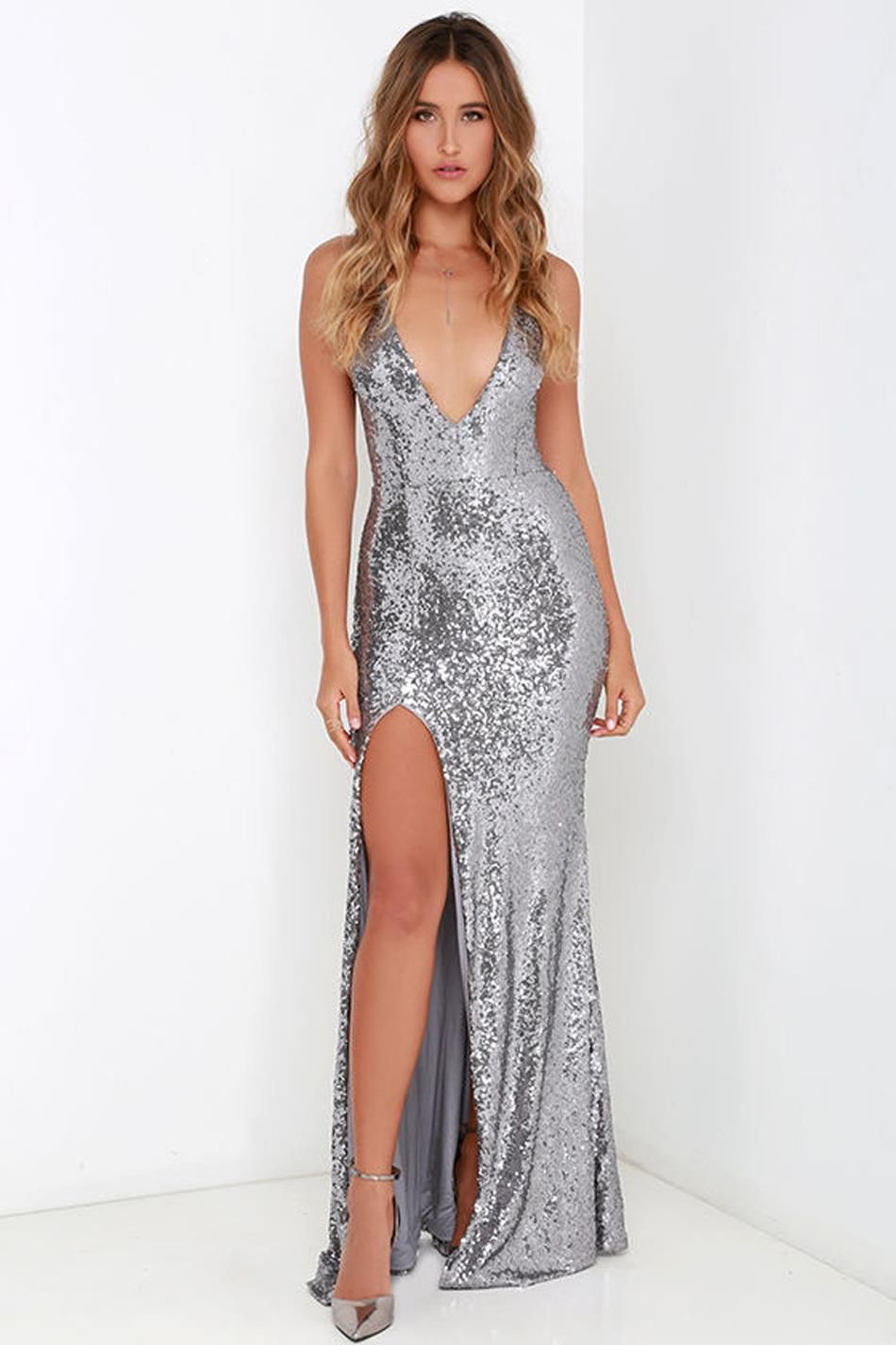 e0c7710ce6f90 Silver V Neck Sequin Long Dress | fashion queens ♡ | Prom dresses ...