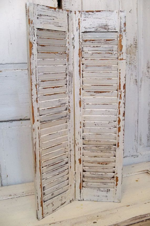 Wooden Shutter Creamy White Distressed Tall By Anitasperodesign 85 00 Wooden Shutters Shabby Sheek Vintage Shutters