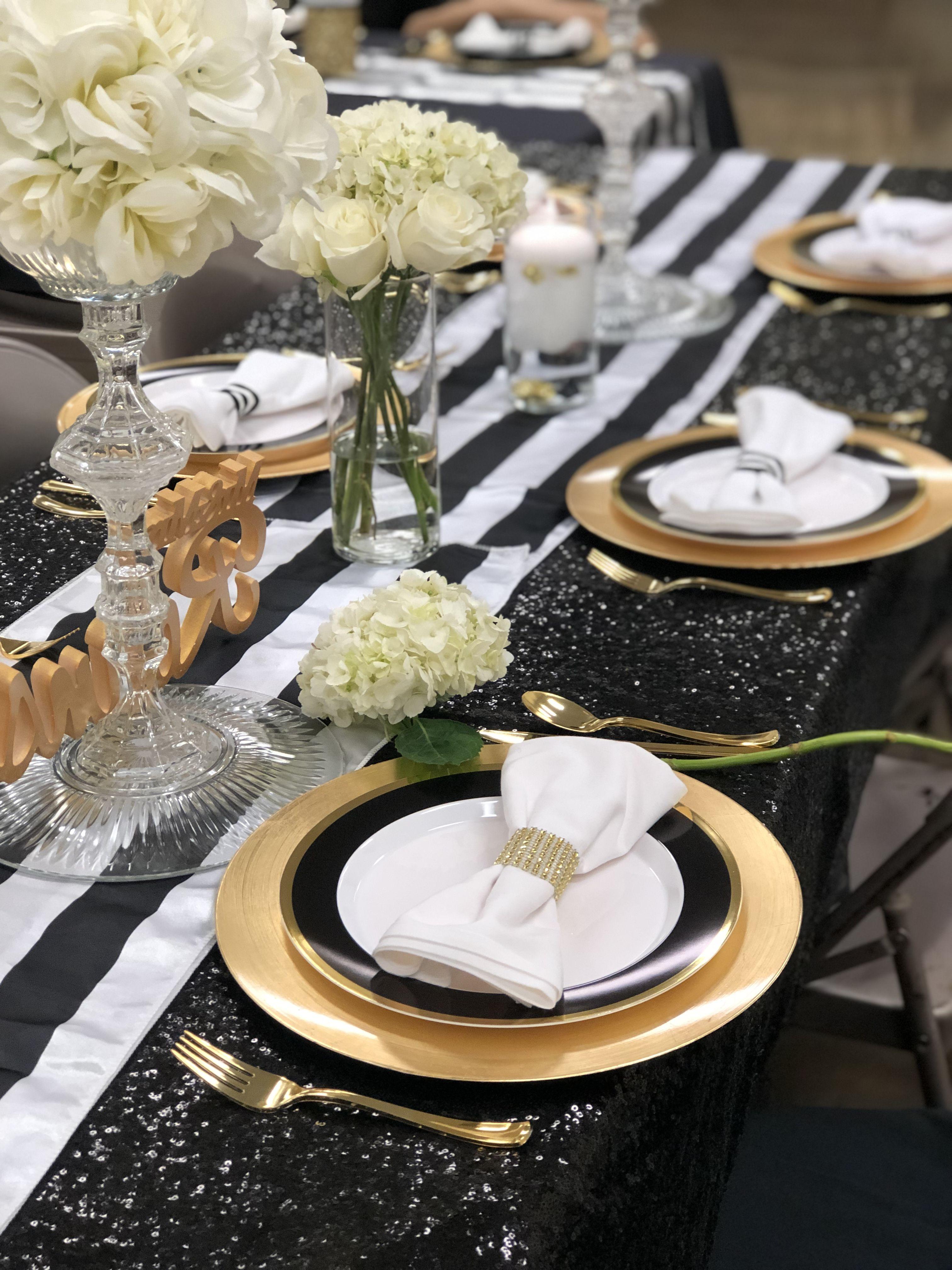 Black White Stripe And Gold Bridal Shower Table Decor Bridal