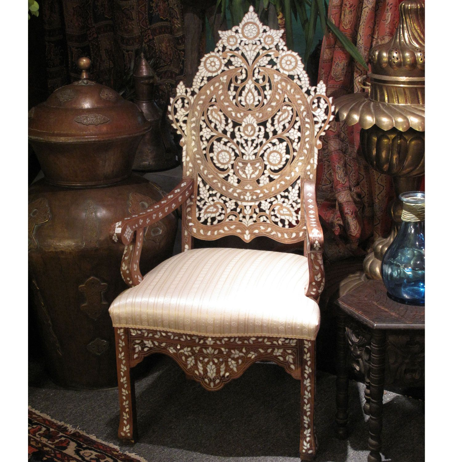 Picture Of Style # 1164   Elegant Moroccan   Syrian Mother Of Pearl Chair.
