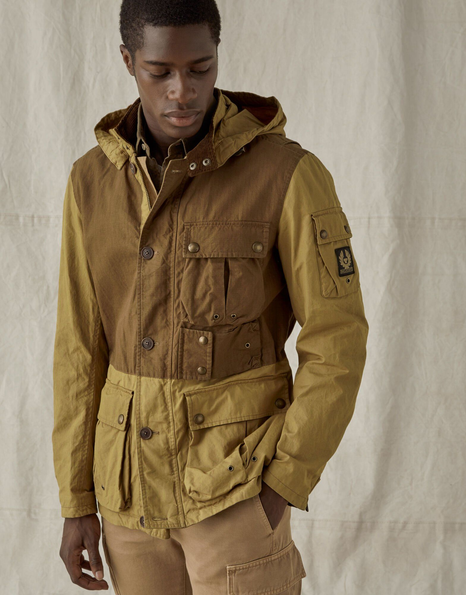 Belstaff Longwing Jacket With Hood Combines Lightweight Dry Waxed And Ripstop Cotton For A Striking Mixed Media Jacket W Jackets Men S Coats Jackets Belstaff [ 2000 x 1568 Pixel ]
