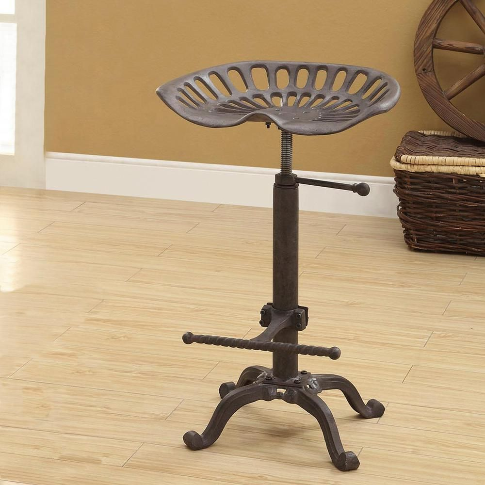 Carolina Cottage Tractor Seat Adjustable Height Industrial Bar Stool-3200-IND - The Home Depot