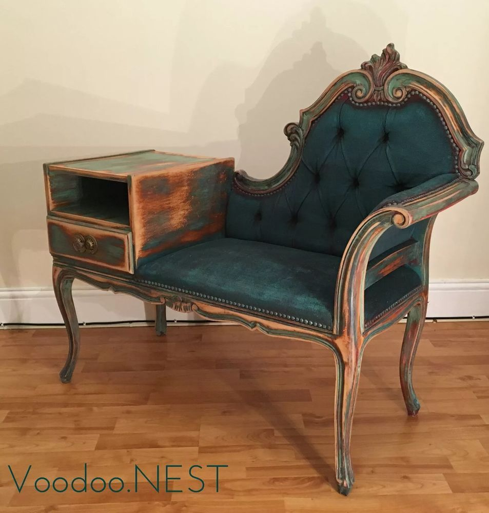 Stylish Victorian Style Telephone Chair / Seat, Painted