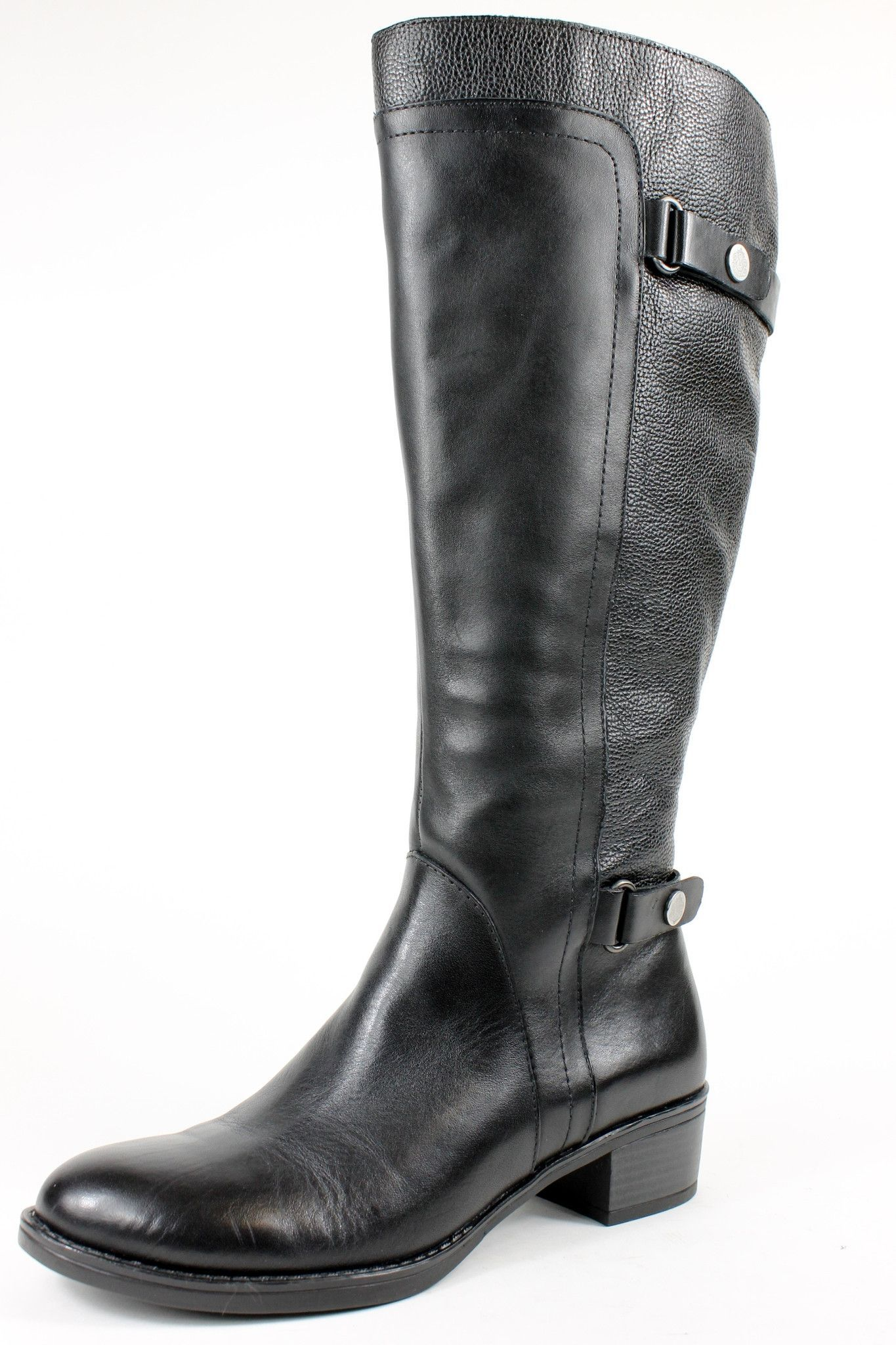 Black Leather Knee-High Wide Calf Boots