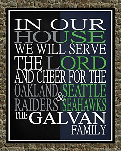 A House Divided Oakland Raiders And Seattle Seahawks Personalized Family Name Christian Print Perfect Gi Christian Prints Personalized Family Sports Wall Art