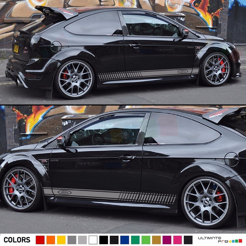 Decal sticker racing stripe kit for ford focus rs st wing lip bumper fender door