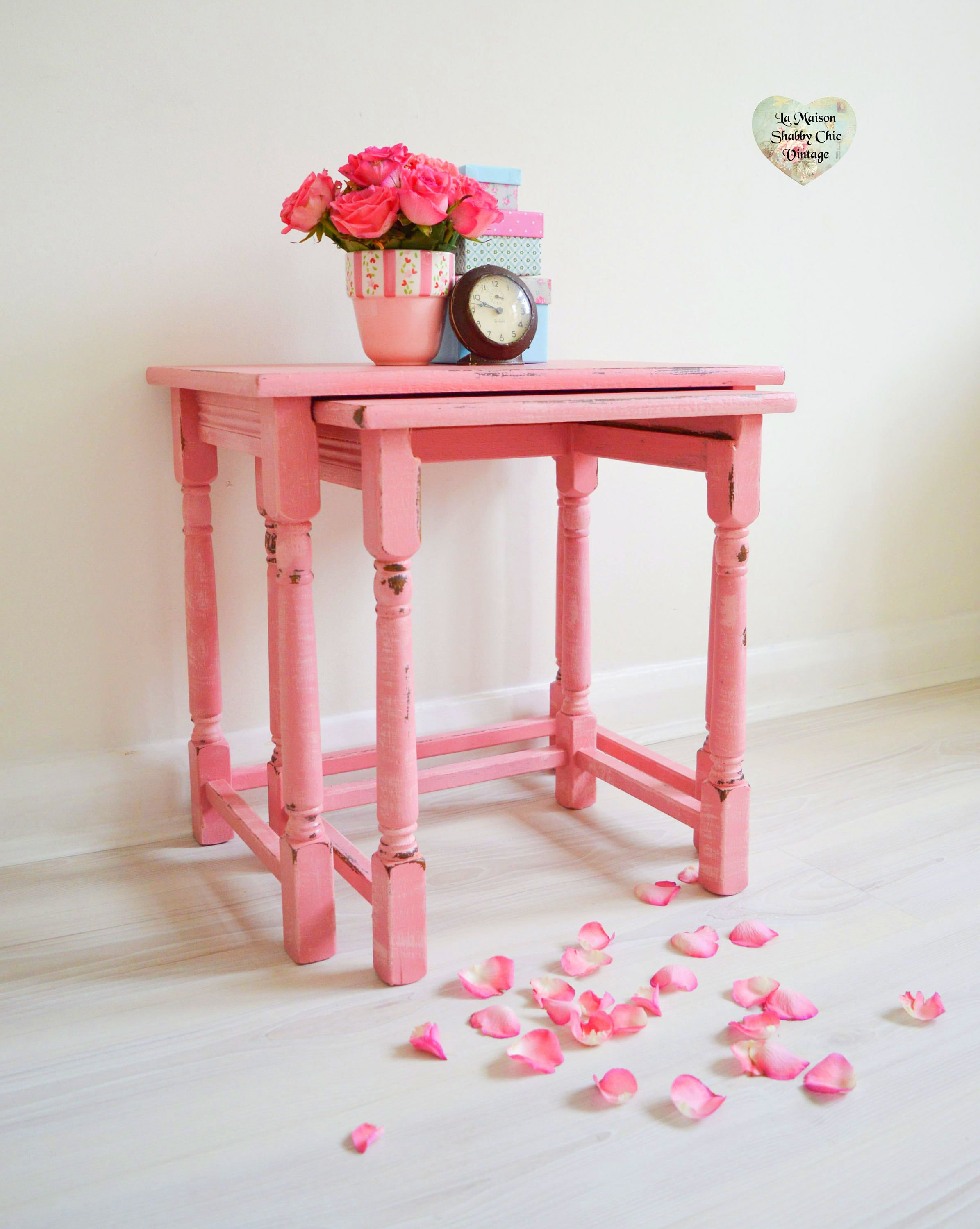Pink Nest Set 2 End Side Tables Hand Painted 2 shades of Pink