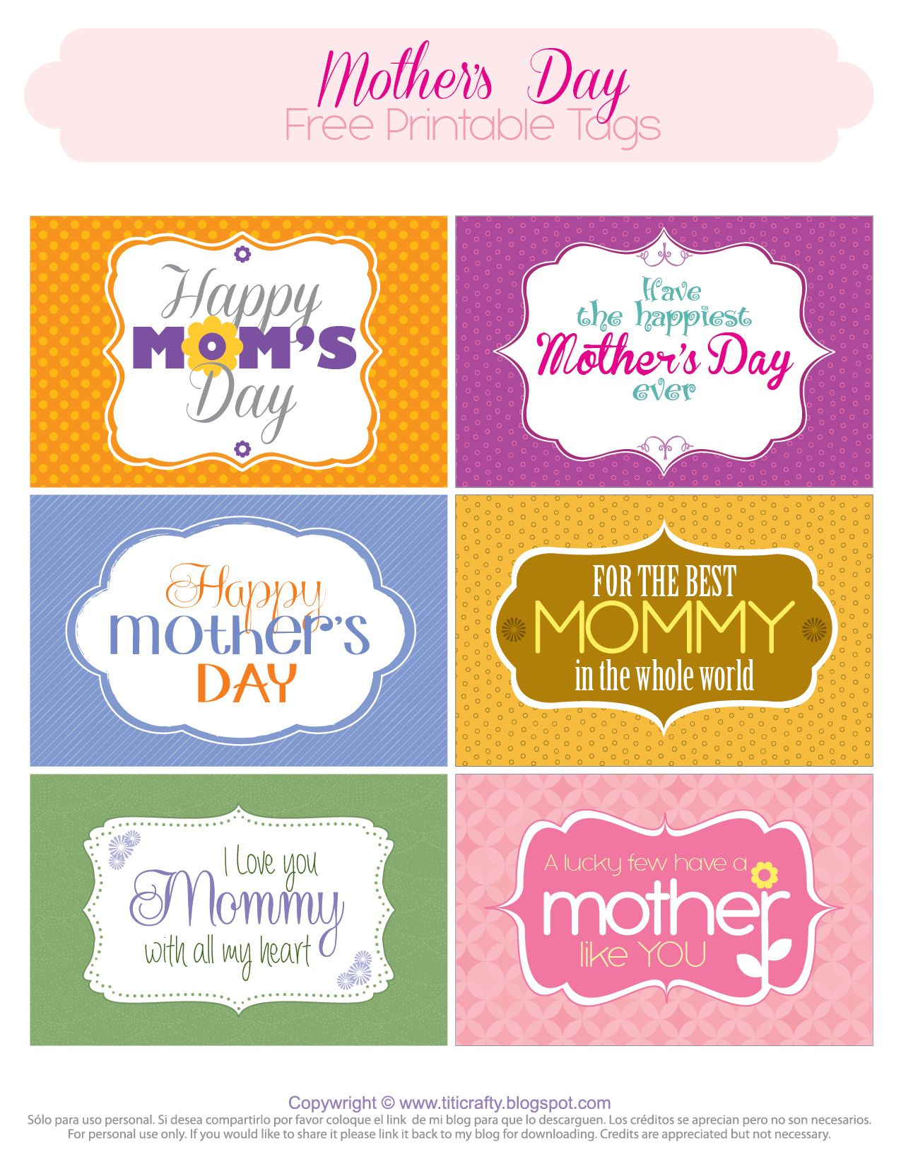 picture relating to Free Printable Mothers Day Tags identify Moms Working day No cost Printable Tags *TCN Freebies