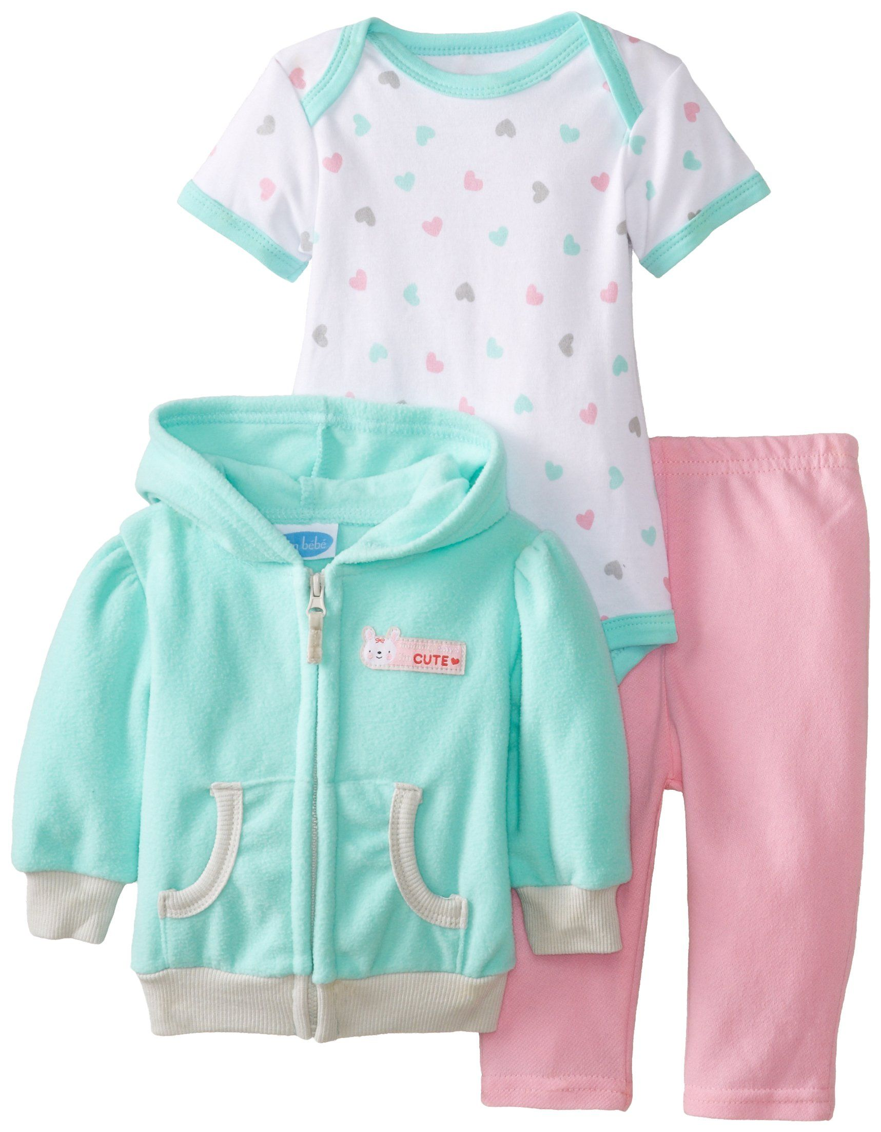 34cf065857e BON BEBE Baby-Girls Newborn Mommy Says I'M Cute Micro Fleece Hooded Jacket  Pant and Bodysuit Set, Multi, 3-6 Months