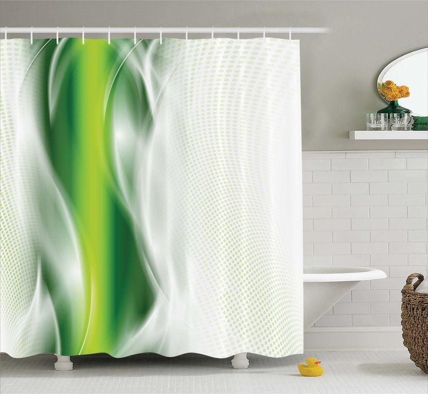 Aaron Cool Wavy Floral Shower Curtain Hooks Floral Shower Curtains Shower Curtain Hooks Green Shower Curtains