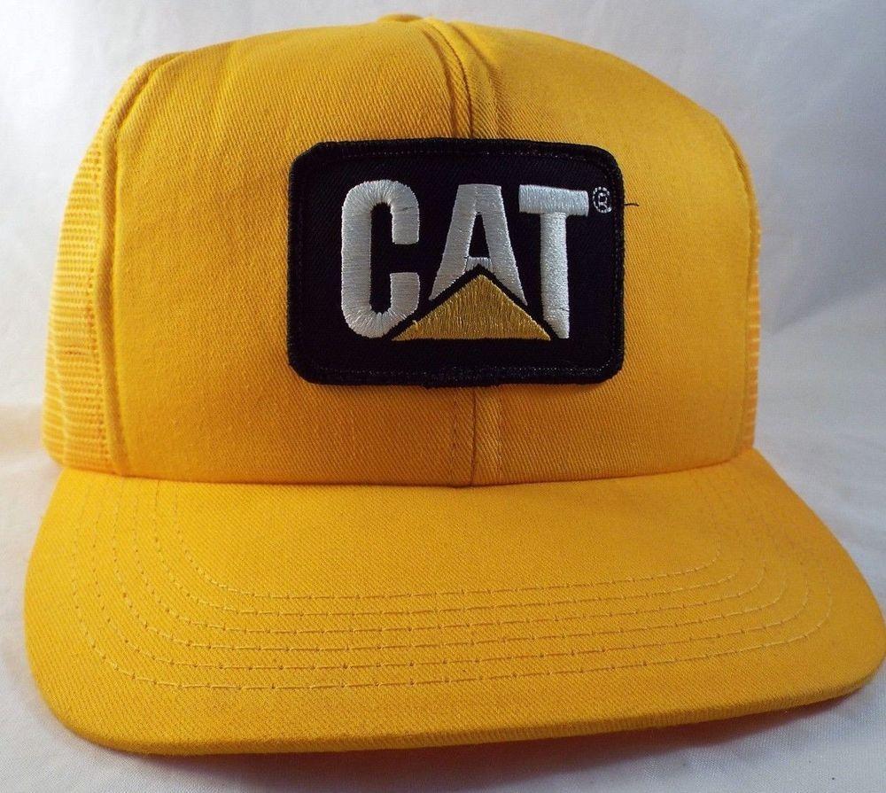 8c45be428c5 NEW vintage USA made MESH Snapback Cat Trucker Hats Caterpillar Yellow Caps   Cat