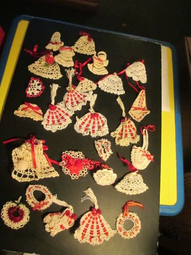 Lot of 26 Crocheted Christmas Ornaments Starched Bell Angel Wreath Red Ribbon How cute!!
