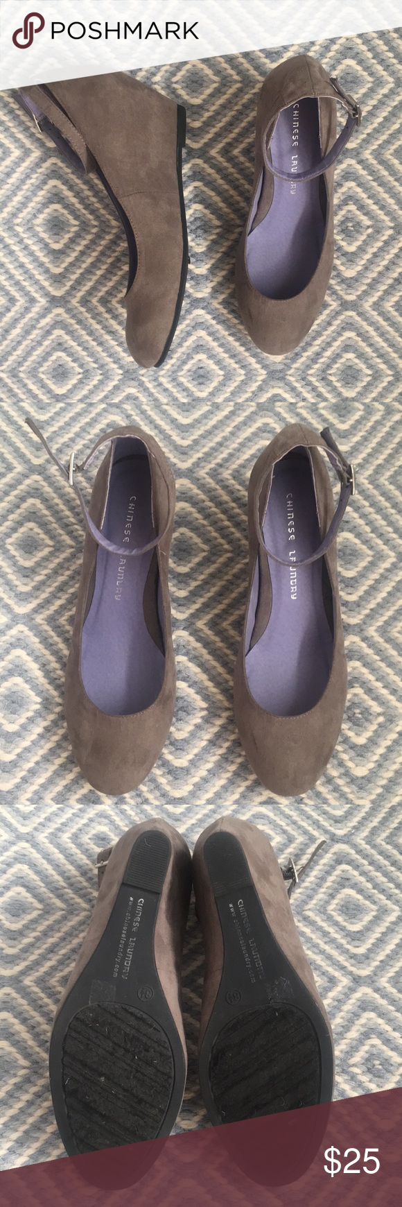 471fa3732b2 CHINESE LAUNDRY GRAY MICRO SUEDE WEDGES ▫️Great used condition. ▫️Only  signs of wear