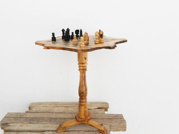 Olive Wood Unique Rustic Chess Set Table 17.7 Inch By ZitounaWood