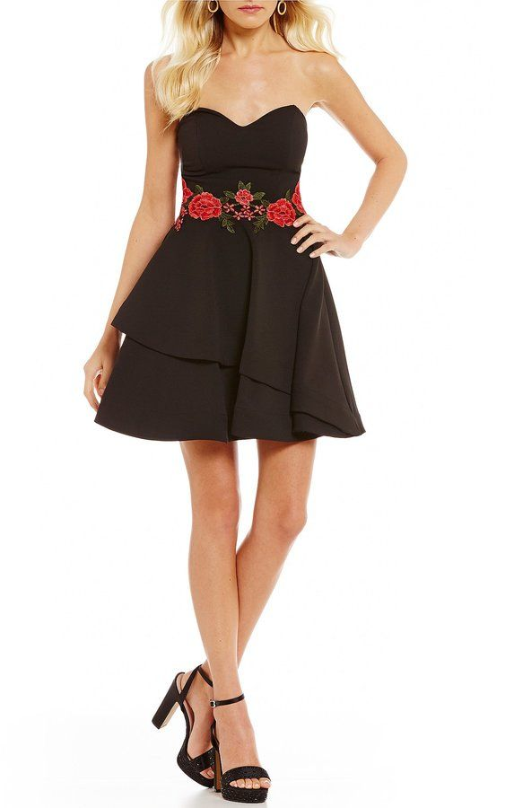 592cdb47abff4 B. Darlin Strapless Floral Embroidered Waist Fit-and-Flare Dress ...
