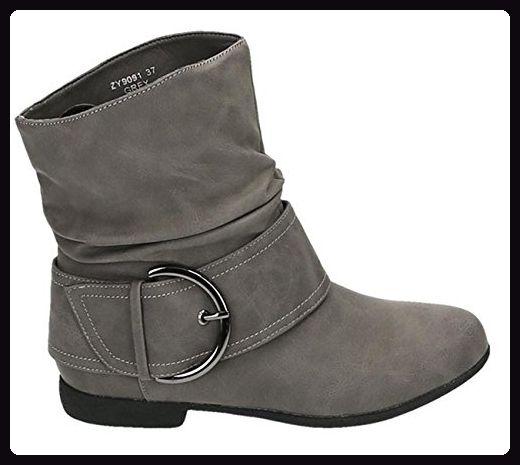 Damen Stiefeletten Cowboy Western Stiefel Boots Flache