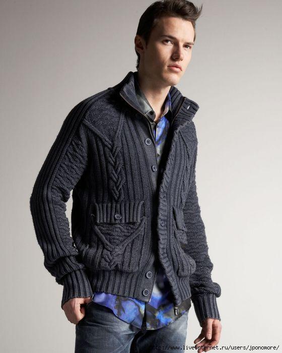 Вязаная куртка и шапка (Вязание для мужчин) Вязание 7
