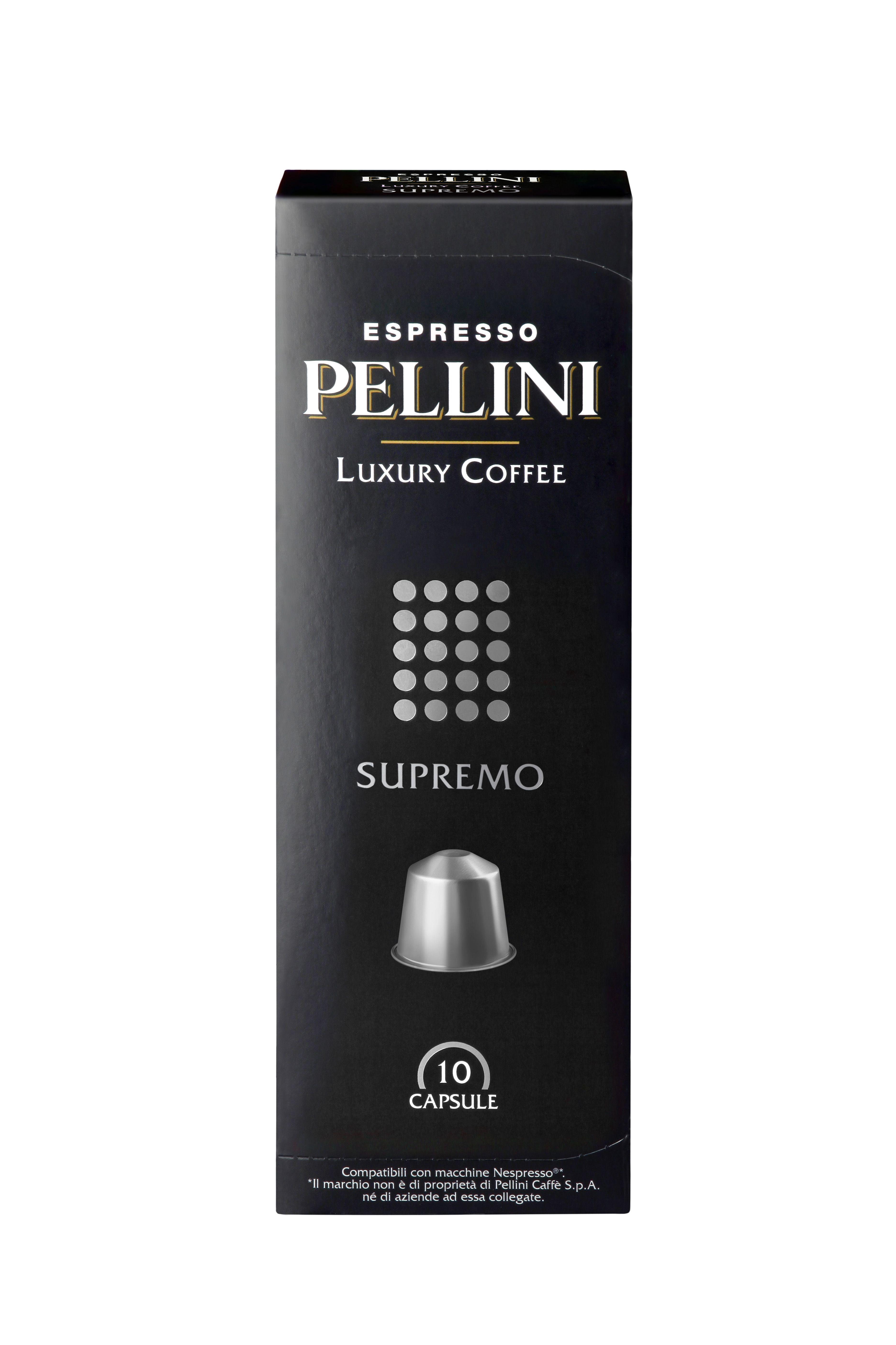 pellini supremo capsules coffee capsules capsules compatible with nespresso machine. Black Bedroom Furniture Sets. Home Design Ideas