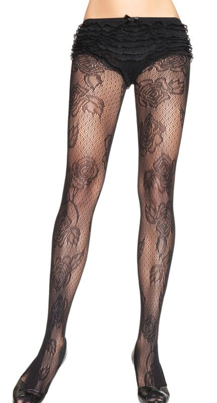 Sheer Vintage Spandex Black Floral Print Full Rose Lace Thigh High Stockings OS