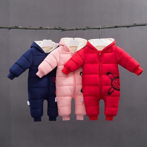 eb5dfb859bf 2018 Spring Winter Warm Baby Girls Boys Snowsuit Down Cotton Baby Rompers  Hoodies Newborn Overalls Clothes Kid Children Jumpsuit