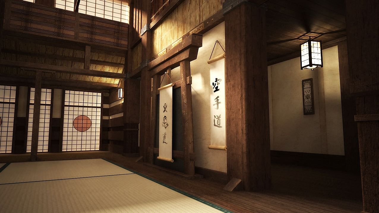 A beautiful interior photo of a traditional Japanese dojo ...