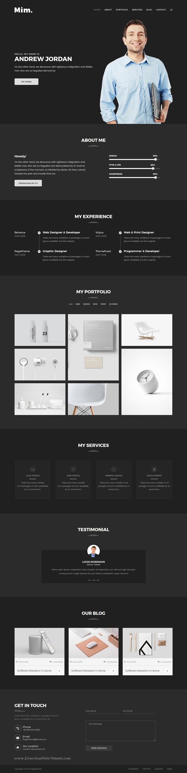showcase website with light and dark