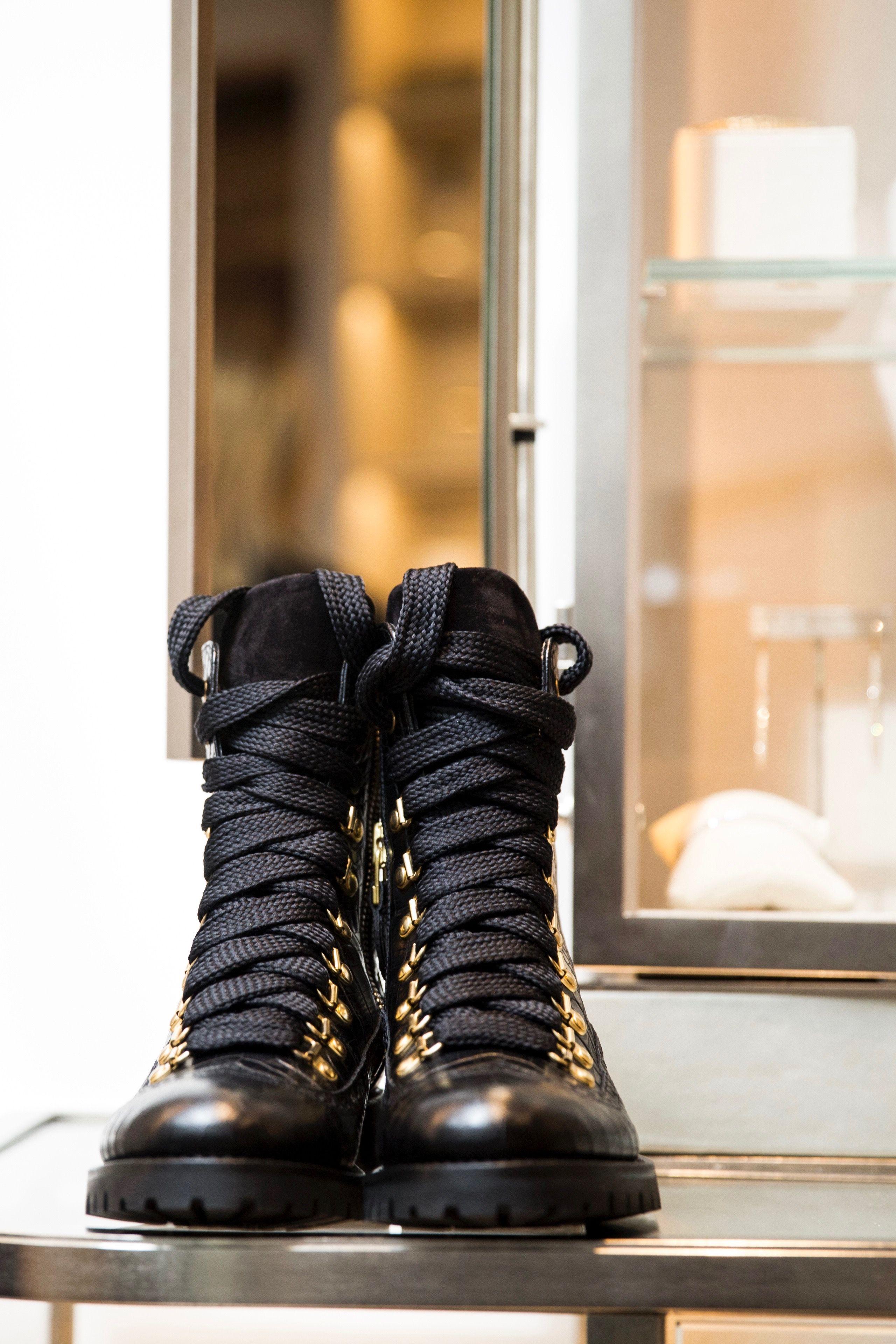15e6cf598 #mrbernard #myscotts Bad-ass-boot for women who mean business. Black croc  heaven. Black combat boots.