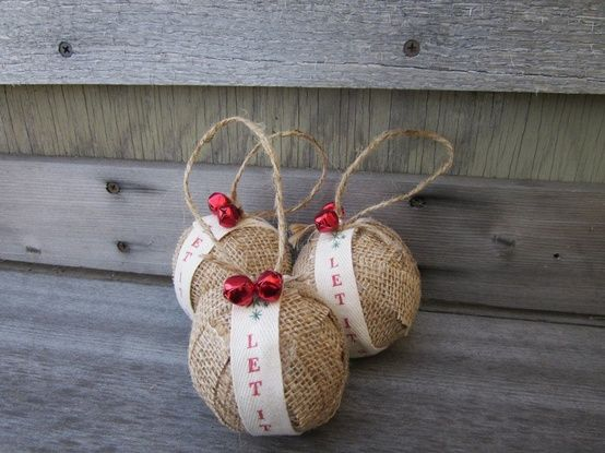 Rustic Christmas Burlap Ornaments Jingle Bells Let It Snow Set Of 3 By Sheepstreetdesign On Etsy